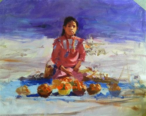 """young girl selling oranges"" original fine art by Richard Schiele"