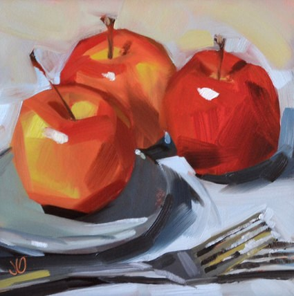 """Apple Trio II"" original fine art by Jessica Green"