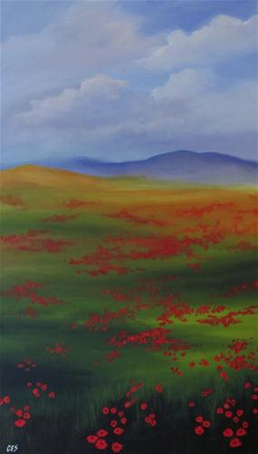 """Poppy Landscape"" original fine art by ~ces~ Christine E. S. Code"