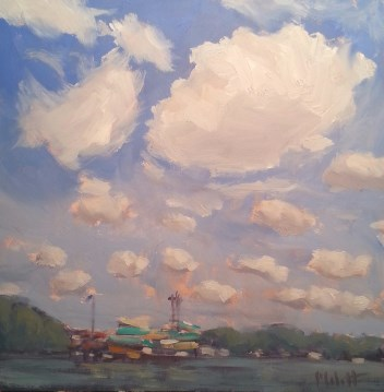 """Amusement and Water Park Boardwalk Indiana Beach Original Oil Painting"" original fine art by Heidi Malott"