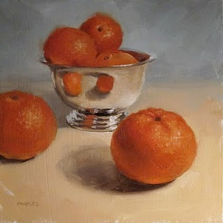 """Reflecting Tangerines"" original fine art by Michael Naples"