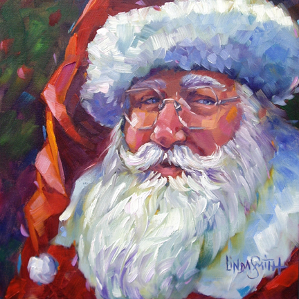 """Colorful Santa, 2011"" original fine art by Linda K Smith"