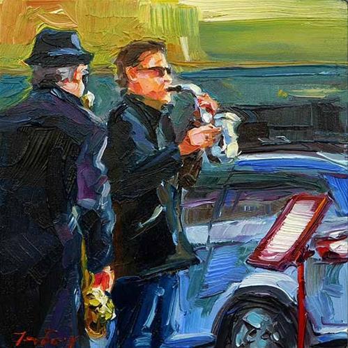 """""""Musiker von Montmartre"""" original fine art by Jurij Frey"""