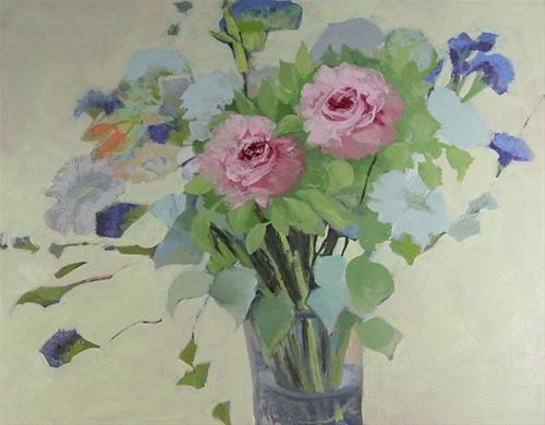 """Original Still Life Rose Oil Painting Pink Roses by Colorado Artist Susan Fowler"" original fine art by Susan Fowler"