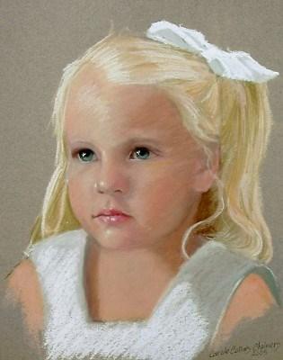 """Precious with a White Bow"" original fine art by Carole Chalmers"