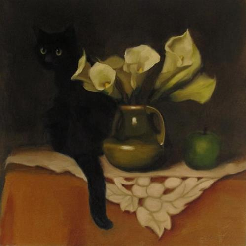 """Black Cat and Lilies floral still life with cat painting"" original fine art by Diane Hoeptner"