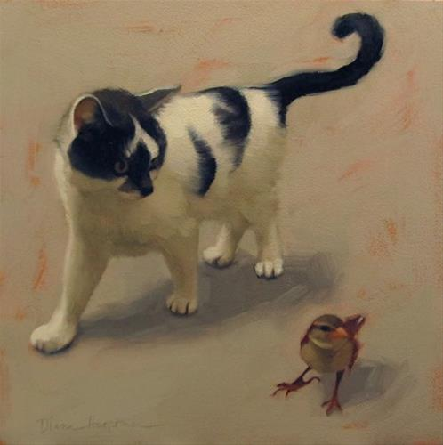 """""""Eye on Sparrow + unsolicited painting advice"""" original fine art by Diane Hoeptner"""