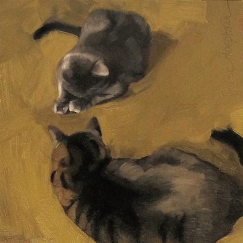 """Cats at Play small original oil painting"" original fine art by Diane Hoeptner"