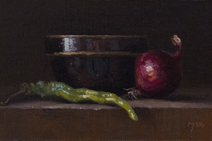 """Still Life with Green Pepper and Red Onion  (& Half A Million Thanks)"" original fine art by Abbey Ryan"