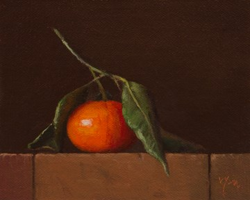 """Tangerine with Leaves"" original fine art by Abbey Ryan"