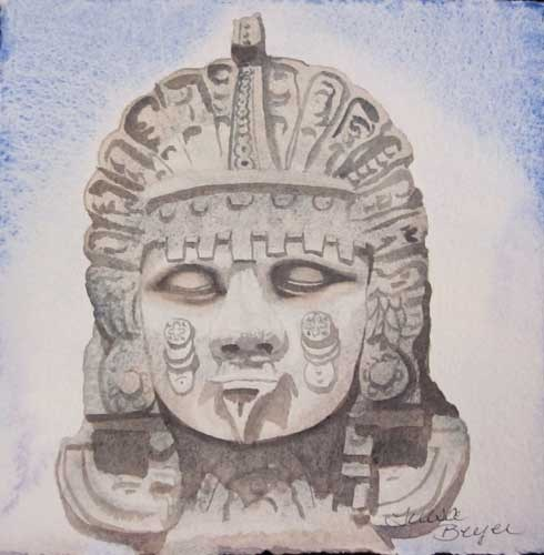 """Aztec God"" original fine art by Teresa Beyer"