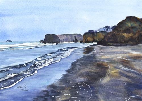 """Seaside Beach in the Morning"" original fine art by Mariko Irie"