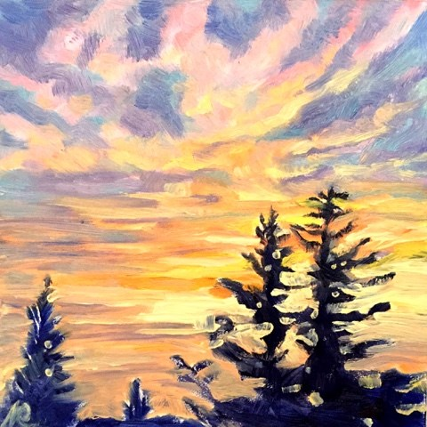 """Glorious sunset"" original fine art by Natasha Ramras"