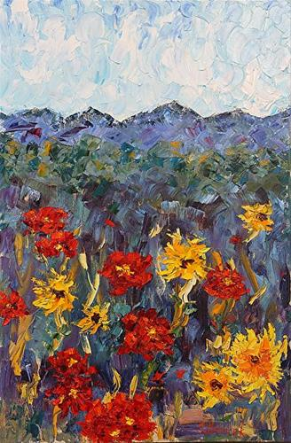 """Palette Knife Impressionism Landscape Flower Painting Poppies  by Colorado Impressionist Judith Ba"" original fine art by Judith Babcock"