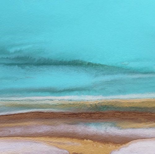 """Contemporary Abstract Seascape ,Beach Art Painting Tropical Dreams Study #6 by Colorado Contempora"" original fine art by Kimberly Conrad"