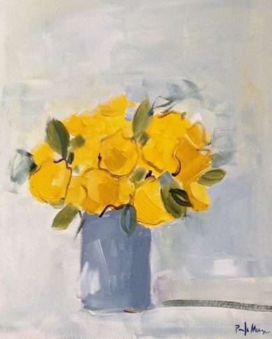 """Yellow Roses in Grey Vase"" original fine art by Pamela Munger"