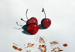 """Cherries and Lace"" original fine art by Christiane Kingsley"