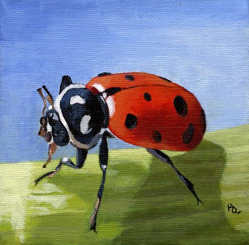 Ladybird original fine art by Ria Hills