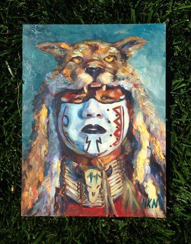 """The spirit of the mountain lion"" original fine art by Nina K. Nuanes"