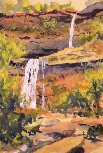 """Kaaterskill Falls in Watercolor"" original fine art by Jamie Williams Grossman"