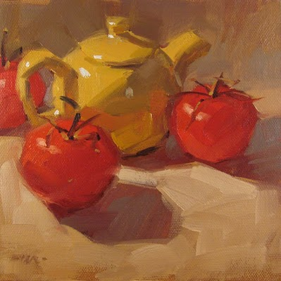 """Tiny Tea & Tomatoes"" original fine art by Carol Marine"