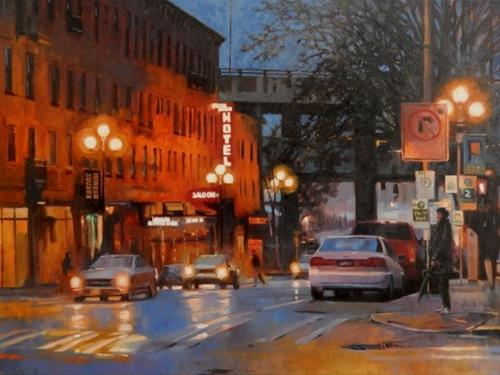 """Pioneer Square Hotel Seattle city, oil painting by Robin Weiss"" original fine art by Robin Weiss"