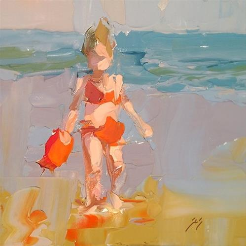 """Red Bikini by Sally Shisler"" original fine art by Sally Shisler"