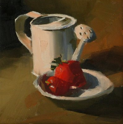 """Strawberries"" original fine art by Qiang Huang"