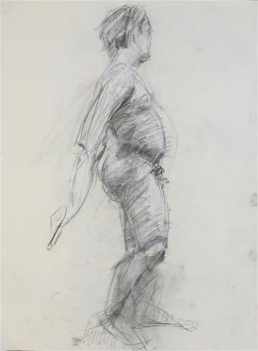 """Man's Gesture Drawing from Pennsylvania Academy of Fine Arts 1"" original fine art by Nava Judith"