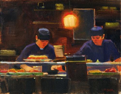 """Sushi chefs"" original fine art by Kathy Weber"