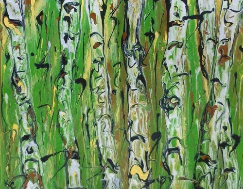 """Aspen Tree Painting,Contemporary Abstract Art ABSTRACTED ASPENS #138 by International Contemporary"" original fine art by Kimberly Conrad"