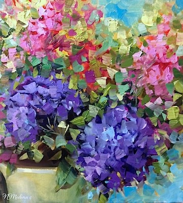 """Party Mix Hydrangeas and Delphiniums ~ Flower Painting by Nancy Medina"" original fine art by Nancy Medina"
