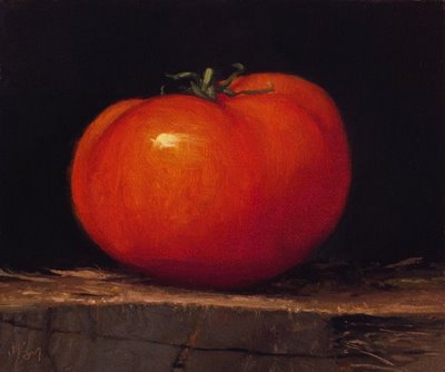 """Tomato on a Wood Block"" original fine art by Abbey Ryan"