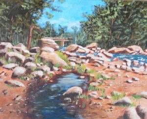 """Lake Placid Stream"" original fine art by Robert Frankis"