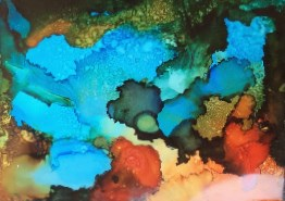 """""""Contemporary Abstract Alcohol Ink Painting Turquoise Blooms by Contemporary New Orleans Artist Lou"""" original fine art by Lou Jordan"""
