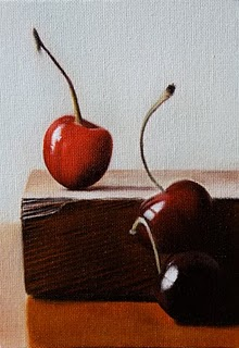 """Cherries 2"" original fine art by Jonathan Aller"