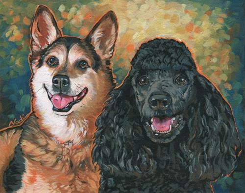 """Spike and Simba"" original fine art by Nadi Spencer"