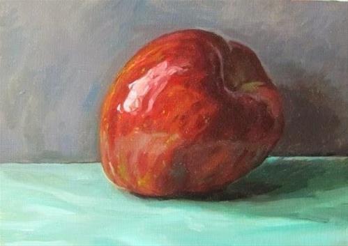 """""""18- Apple on Sea-foam Green"""" original fine art by Ed Watson"""