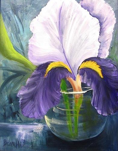"""Purple Iris in Glass Vase"" original fine art by Barbara Haviland"