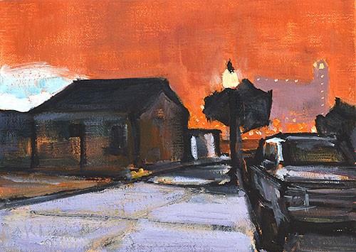 """East Village, Night"" original fine art by Kevin Inman"