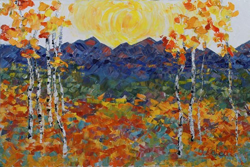 """Palette Knife Aspen Landscape Painting Rocky Sunrise by Colorado Impressionist Judith Babcock"" original fine art by Judith Babcock"