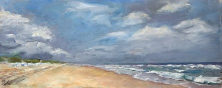 """Carte postale de De Haan"" original fine art by Evelyne Heimburger Evhe"