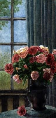 """""""Watercolor: Rose Eruption"""" original fine art by Belinda Del Pesco"""