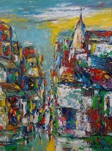 """""""Down The Town"""" original fine art by Duc Tran"""