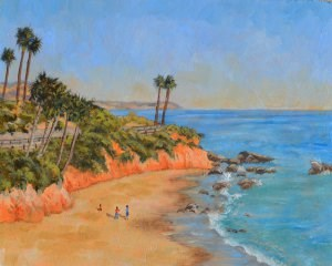 """Summer in Laguna Beach"" original fine art by Robert Frankis"