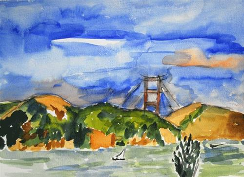 """Bridge Too Big"" original fine art by Donna Crosby"