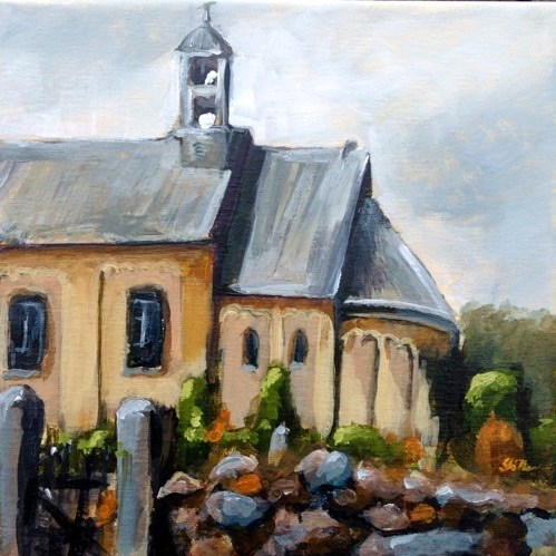 """1398 Hviding Kirke"" original fine art by Dietmar Stiller"