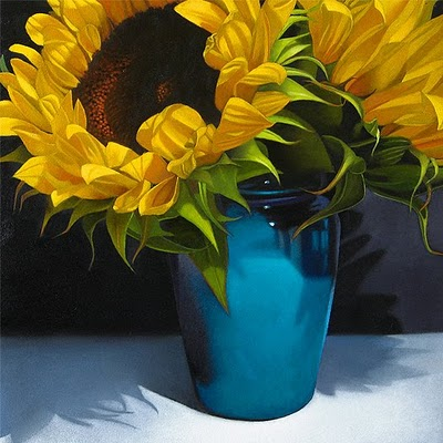"""Sunflowers In Blue Vase 8x 8"" original fine art by M Collier"
