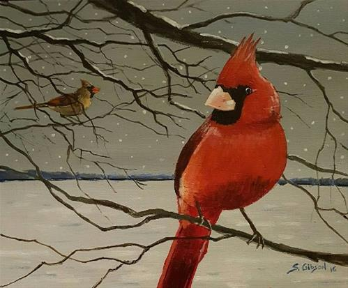 """December Birds"" original fine art by Steve Gibson"