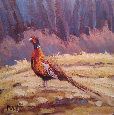 """Pheasant Autumn Animal Painting Original Oil"" original fine art by Heidi Malott"